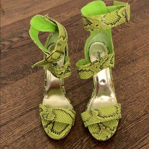 Lime green snake print heel